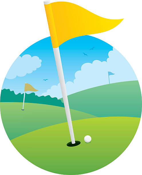 Illustration of golf course focused on the flag.